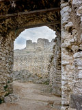 Ruins in the Ardeche. Landscape photo: view to the ruins of Crussol nearby Saint Péray in the Ardèche France stock photography