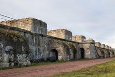 Artillery battery Fort Constantine, Kronstadt royalty free stock photos