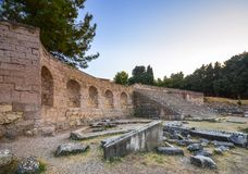Ruins of asclepeion in Kos Greece, ancient greek temple dedicated to Asclepius. Ruins of asclepeion in Kos Greece, ancient greek temple dedicated to Asclepius Royalty Free Stock Photography