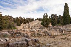The ruins of Asclipeion in Kos island, Dodecanese, Greece, a temple dedicated to Asclepius, the god of Medicine Royalty Free Stock Image