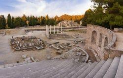 The ruins of Asclipeion in Kos island, Dodecanese, Greece, a temple dedicated to Asclepius, the god of Medicine. The ruins of Asclipeion in Kos island, Greece, a Stock Photos