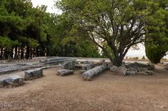 The ruins of Asclipeion in Kos island, Dodecanese, Greece, a temple dedicated to Asclepius, the god of Medicine Royalty Free Stock Photography