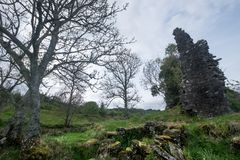 Ruins of Ascog Castle. Castle Ascog, situated beside Loch Ascog, was a square keep, built in the early 15th century. In 1870 its random rubble walls are Stock Images