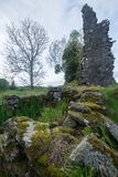 Ruins of Ascog Castle. Castle Ascog, situated beside Loch Ascog, was a square keep, built in the early 15th century. In 1870 its random rubble walls are Stock Photo