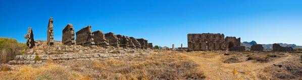 Ruins at Aspendos in Antalya, Turkey. Archaeology background Stock Photo
