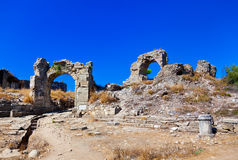 Ruins at Aspendos in Antalya, Turkey Royalty Free Stock Images
