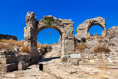 Ruins at Aspendos in Antalya, Turkey Royalty Free Stock Photo