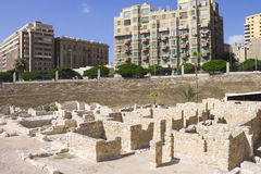 Ruins associated with the Alexandria roman theater Royalty Free Stock Images