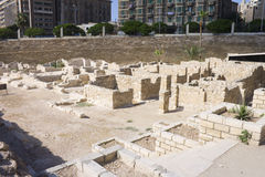 Ruins associated with the Alexandria roman theater. Ancient ruins associated with the Alexandria roman theater (Kom Al-Dikka) that located next to the historic Royalty Free Stock Photos