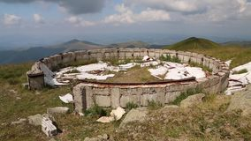 Ruins of an astronomical observatory in Carpathian Mountains, Ukraine stock video footage