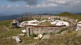 Ruins of an astronomical observatory in Carpathian Mountains, Ukraine stock video