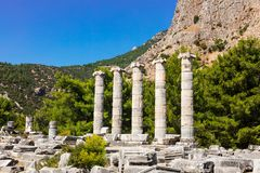 The Athena Temple in Priene, Turkey. Royalty Free Stock Image