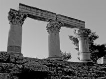 Greek ruins. Archeological ruins of decorative pillars in Athens, Greece Royalty Free Stock Image