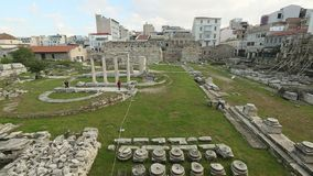 Ruins in Athens in center of city. Tourism is a decisive sector of hope for Greek economy stock video footage