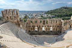 Ruins in Athens. Herodes Atticus ancient theater in Acropolis of Athens, Greece stock photo