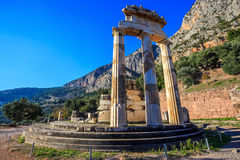 Ruins Athina Pronaia temple in Ancient Delphi Stock Image