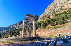 Ruins Athina Pronaia temple in Ancient Delphi Stock Images