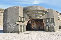 Ruins of an Atlantic Wall Bunker. Royalty Free Stock Images
