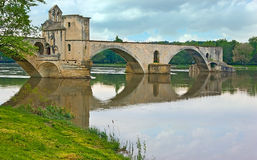 The ruins of the Avignon's best bridge Stock Images