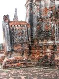 Ruins at Ayuttaya, Thailand. Walls lie in ruin at Ayuttaya, which was sacked by the Burmese in 1767 Royalty Free Stock Image