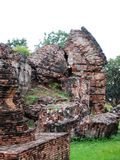 Ruins at Ayuttaya, Thailand. Walls lie in ruin at Ayuttaya, which was sacked by the Burmese  in 1767 Royalty Free Stock Photos
