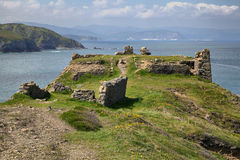 Ruins of Azkorriaga fortress on the coast. Of the Bay of Biscay, Spain, Basque Country Stock Images