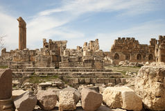 Ruins in Baalbek, Lebanon. Ruins of the old roman city, Baalbek. It is can be seen the six columns of the temple of Jupiter, at the left Royalty Free Stock Images