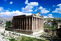Ruins of Bacchus temple in Baalbek, Bekaa valley Lebanon Royalty Free Stock Image