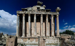 Ruins of Bacchus temple in Baalbek, Bekaa valley Lebanon Stock Photo
