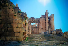 Ruins of Bacchus temple in Baalbek, Bekaa valley, Lebanon Stock Images
