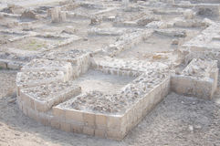 Ruins of Bahrain fort, imprints of outer boundary Royalty Free Stock Photos