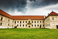 The ruins of Banffy Castle in Bontida Stock Photo