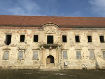 The ruins of Banffy Castle in Bontida, Cluj country. The ruins of Banffy Castle in Bontida in winter. Transylvania Romania stock images