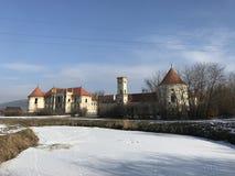 The ruins of Banffy Castle in Bontida, Cluj country. The ruins of Banffy Castle in Bontida in winter. Transylvania Romania royalty free stock photography