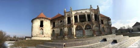 The ruins of Banffy Castle in Bontida, Cluj country. The ruins of Banffy Castle in Bontida in winter. Transylvania Romania stock photo