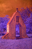 Ruins of baroque monastery in infrared light Stock Photos