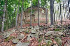 Ruins of the Baroque chapel of St Mary Magdalene. Ruins of the Baroque pilgrimage chapel of St. Mary Magdalene on the mount Little Blanik from 1753 royalty free stock photography