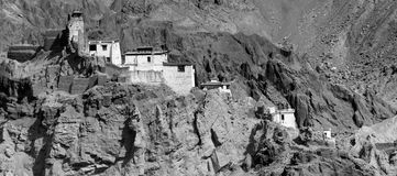 Ruins and Basgo Monastery surrounded with stones and rocks , Ladakh Royalty Free Stock Photography