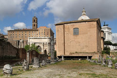 Ruins of Basilica Aemilia Stock Images