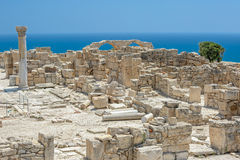 Ruins of basilica in ancient town Kourion on Cyprus Royalty Free Stock Photos