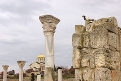 The ruins of the Basilica in Chersonesus Stock Images