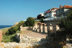 Ruins of Basilica of the Holy Mother,Nesebar Stock Photography
