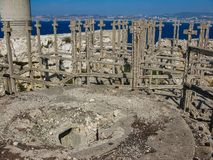 The ruins of the bastion of the Second World War on the island stock images