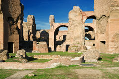 The ruins of the Baths of Caracalla in Rome Royalty Free Stock Images