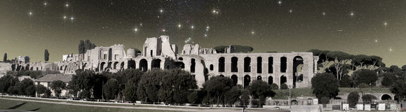 Ruins of Baths of Caracalla under the starry sk royalty free stock photos