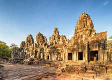 Ruins of Bayon temple in Angkor Thom in evening sun, Cambodia Stock Photo