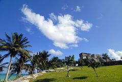 Ruins on the Beach. In Tulum, Mexico Royalty Free Stock Images