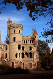 Ruins of the beautiful Gothic castle. Ruins of the castle of Vladimir Hrapovitsky on a background of blue sky and autumn. Muromtsevo. Russia Stock Image