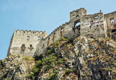 Ruins of Beckov castle on the high rock, Slovakia, beautiful pla Royalty Free Stock Photography