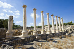 Ruins of Beit She'an. Ruins of the roman period in Beit She'An in Galilee in Israel Stock Photos